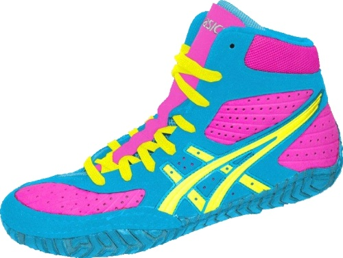 Pink and Blue Wrestling Shoes